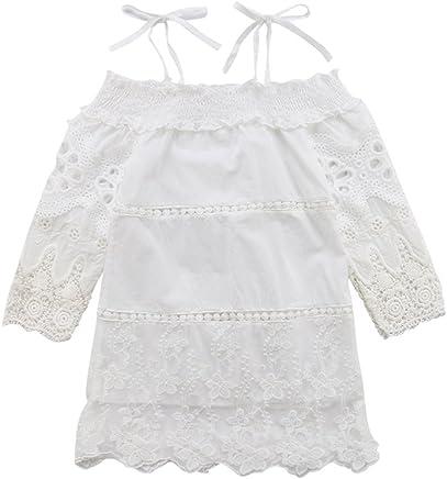 af8a89b8cdac6 Kids Girls Viintage Lace Hollow Out Playwear Dress Long Sleeve Spaghetti  Strap Princess Dress White