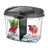 AQUEON AQE01216 Betta Fish Bowl Kit for Pets, Black