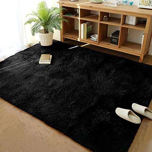 Ultra Soft Modern Shaggy Fur Area Rug for Bedroom Livingroom Decorative Warm Floor Carpet, Non-slip Large Plush Fluffy Comfy Furry Fur Rugs Boys Girls Nursery Accent Rugs 4x6 Feet,Black