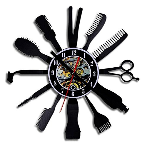 NACHEN Horloge Murale De Barber Shop Horloge Murale Noire d'art De Famille De Creux,Black,Diameter12inches