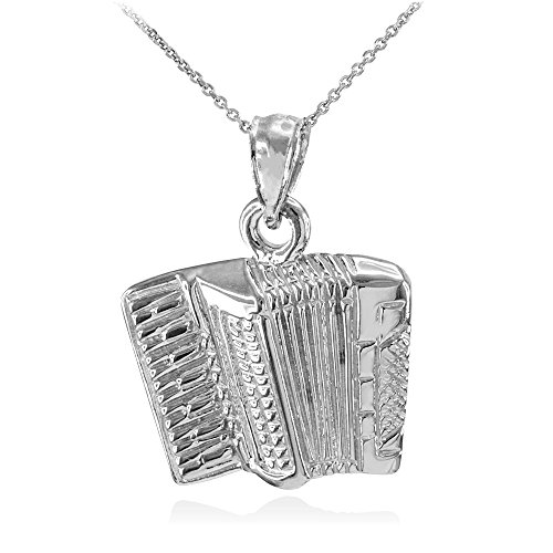 """925 Sterling Silver Music Charm Accordion Pendant Necklace, 16"""""""