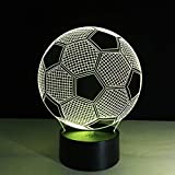 3D Nacht 7 Farben wechselnder 3D Illusion Lampe Fussball Nachtlicht 3D Visual Lights Schreibtisch...