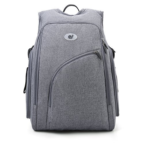 ECOSUSI Diaper Bag Fully-opened Diaper Backpack Travel Baby Nappy Bag, Insulated Pockets, Grey