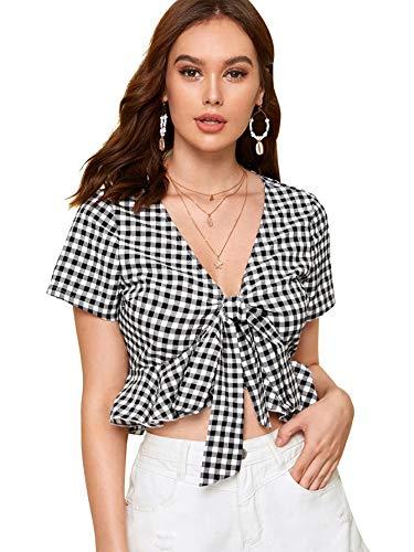 SweatyRocks Women's Casual Open Front Tie Knot Crop Top Short Sleeve Ruffle Plaid Print Cropped Blouse Shirt Black M