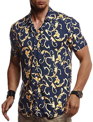 Leif Nelson Herren Hemd Kurzarm Oversize Kentkragen Stylisches Männer Hawaiihemd Stretch Kurzarmhemd Jungen Basic Shirt Freizeit Urlaub Sommerhemd Freizeithemd LN3680 Blau X-Large