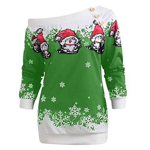 Pull de Noel Femme Irrégulier Grande Taille Christmas Pullover Tops Hiver T-Shirt Femmes Imprimé de Père Noël Santa Claus Chemisier Hauts à Manches en Floral Dentelle Vêtements Noel Femmes
