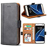 Samsung Galaxy S7 Hülle, Bozon Leder Tasche Handyhülle Flip Wallet Schutzhülle für Samsung Galaxy S7 mit Ständer & Kartenfächer/ Magnetic Closure (Dunkel-Grau)