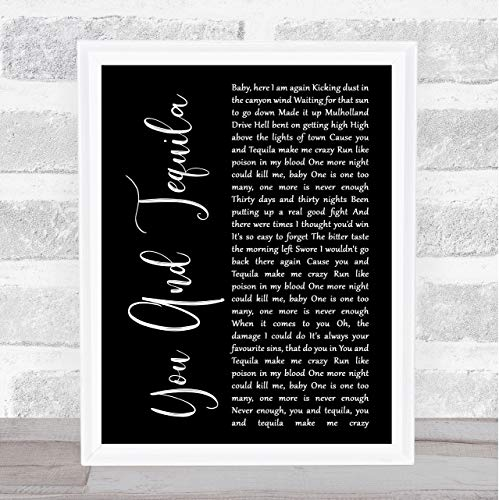 Fingerprint Designs Musikdruck You And Tequila mit Songtext Framed White Large