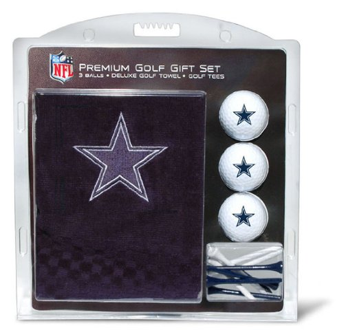 Team Golf NFL Dallas Cowboys Gift Set Embroidered Golf Towel, 3 Golf Balls, and 14 Golf Tees 2-3/4
