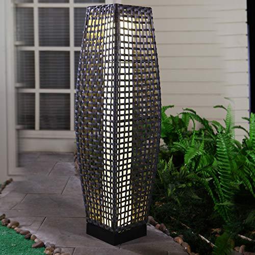 Grand patio Draussen Solarbetrieben Terrassen-Beleuchtung Gewebte Harz Wicker Stehlampe für Deck,Garten,Rasen,Auffahrt,Schwimmbad,Veranda