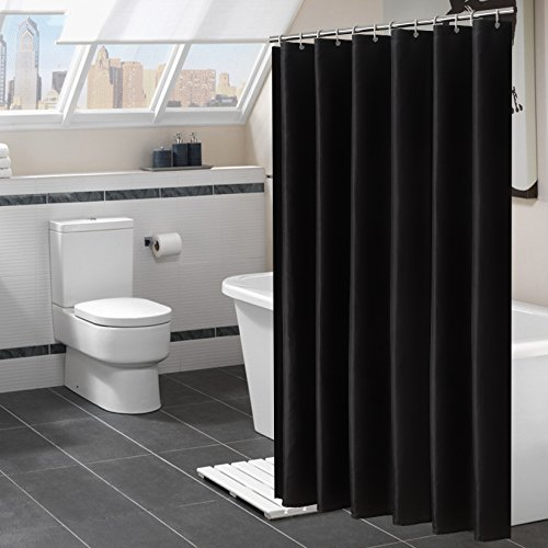 "YUUNITY Shower Curtain Polyester Fabric Bath Curtain with Hooks Bathroom Accessories,Waterproof Washable, 72""x 80""-Black"