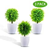 KATELUO Set de 3 Plantas Artificiales con Macetas, Plantas Artificiales Decorativas,Plantas Artificiales para Decoración...