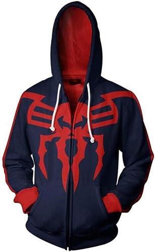 PQW Unisexe 3D sweat à capuches, Sweat à Capuche zippé 3D pour Hommes de la Mode, Cosplay Up Pull à Capuche Super Hero Spider Man Movie Movie