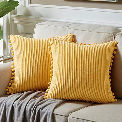 Fancy Homi Pack of 2 Yellow Accent Decorative Throw Pillow Covers with Pom-poms