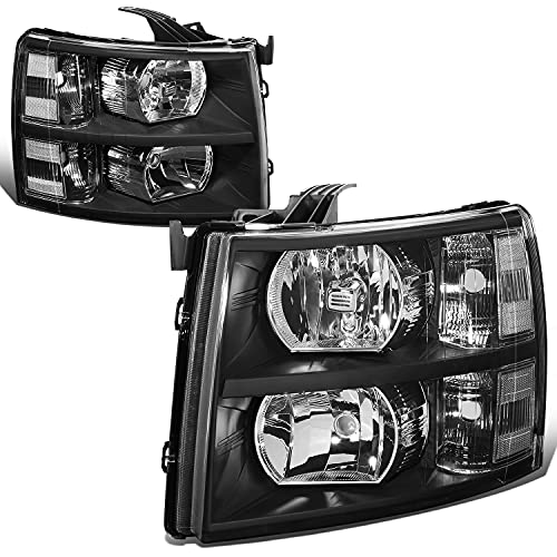 DNA Motoring HL-OH-CSIL07-BK-CL1 Pair of Black Housing Headlights Compatible with 07-13 Silverado 1500 2500 3500