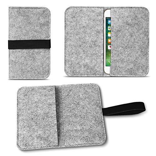 NAUC Apple iPhone SE 5 5S 5C Filz Hülle für Smartphones Cover Tasche Hülle Flip Filztasche mit Kartenfach Straffen Gummiband, Farben:Hell Grau