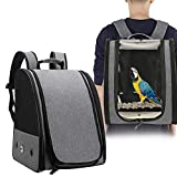 Bird Parrot Carrier Travel Cage with Perch Airline Portable Transport Breathable Bird Travel Bag Lightweight Bird Carrier, Bird Travel cage Parrot Backpack for Parrot Pet Birds Grey