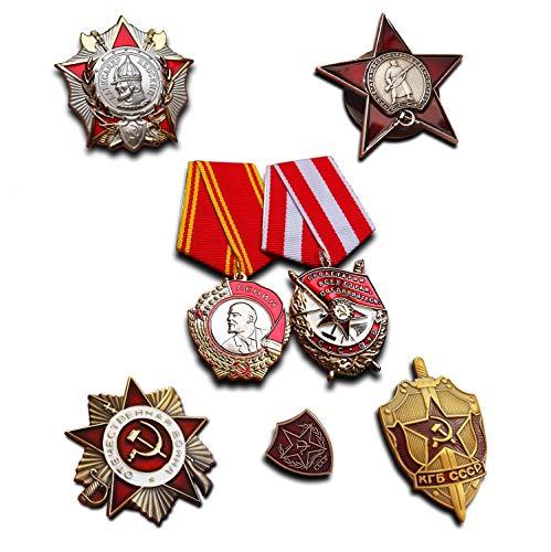 Selectie van de hoogste Sowjetische militaire onderscheidingen, 7 medaillen/aanstekers, Elite-onderscheidingscollectie, reproductie, UdSSR-cadeau.