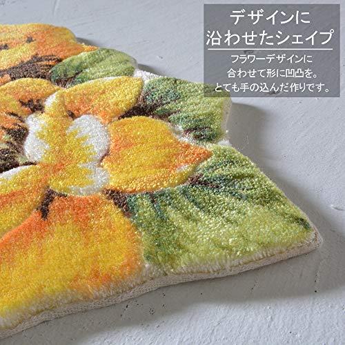 ラグズファクトリー玄関マット120屋内半円薔薇黄色イエローrose70x120cm