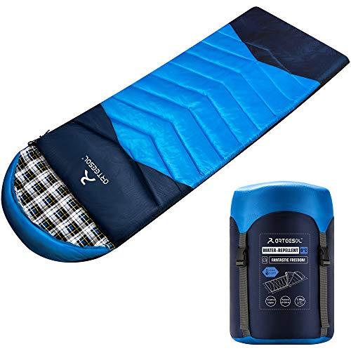 arteesol Schlafsack Deckenschlafsäcke Mumienschlafsack aus Baumwolle als Füllstoff Wasserabweisend im Winter für Camping Reisen Freien Indoor Outdoor Erwachsene 1,9KG (Blau-Flanell)