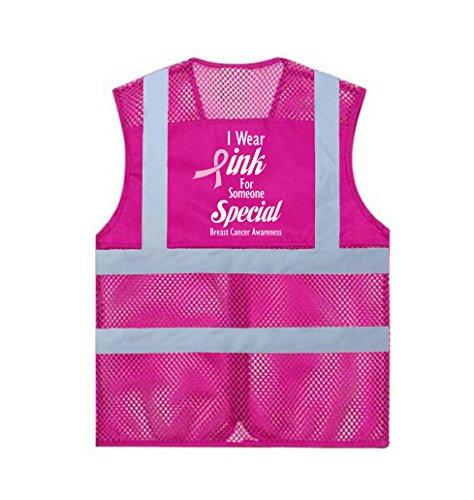 GOGOの乳がんの意識のボランティアのベスト ポケットが付いているピンクの網の安全ベスト - Design 3-2XL