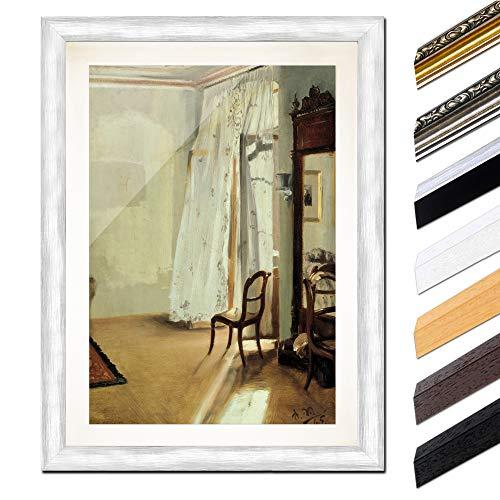 Bild mit Rahmen - Adolph von Menzel Das Balkonzimmer 20x30 cm ca. A4 - Gerahmter Kunstdruck inkl. Galerie Passepartout Alte Meister - Rahmen Silber