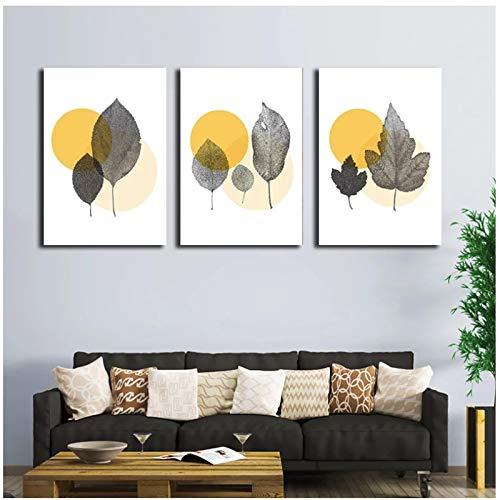 lienzos decorativosPóster de Hojas Amarillas abstractas Que pintanimágenesImpresasCarteles de Arte de Pared...