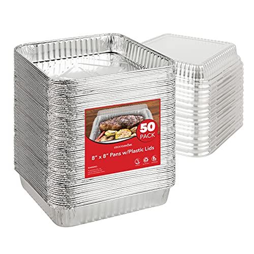 Stock Your Home 8 x 8 Aluminum Foil Pans with Plastic Lids (50 Pack) - 8 Inch Foil Pans with Lids - Recyclable & Disposable - Oven Safe Pans with Lids for Cake, Lasagna, Catering, Takeout, Delivery