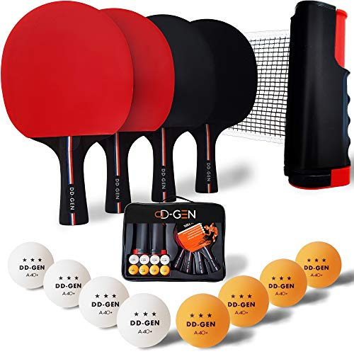 DDGEN Portable Ping Pong Set for Any Table with 4 Table Tennis Paddles 8 Ping Pong Balls Retractable Table Tennis Net and Storage Case  Complete Table Tennis Set for 2 or 4 Players