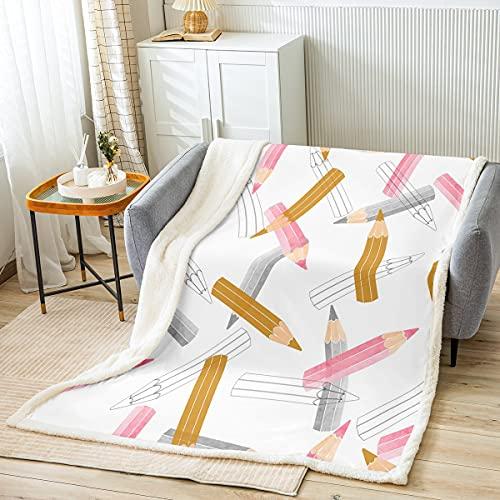 Lápices de crayones, manta de sherpa, pintura de dibujos animados, manta de forro polar para niños y niñas, rosa, marrón, gris, para sofá cama, diseño de acuarela, doble de 156 x 188 cm