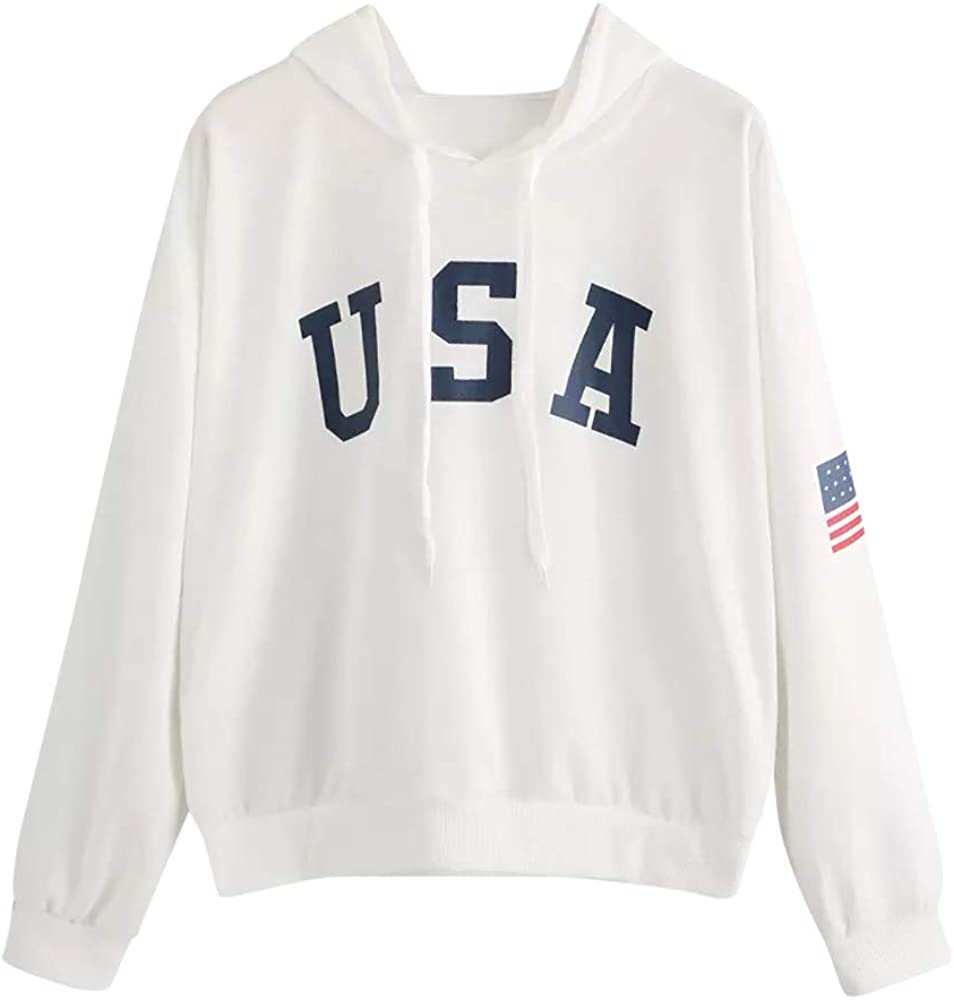 Haheyrte Hoodies for Womens Letter Drawstring With Pocket Loose Long Sleeve Casual Sweatshirts Pullover Tops Shirts Sweaters