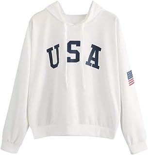 Fanteecy Women`s Letter USA Flag Printed Sweatshirt Crop Top Long Sleeve Pullover Crewneck Casual Hoodie Girl