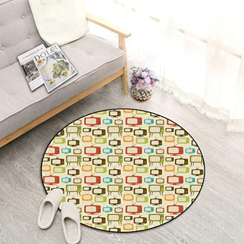 "Vintage Best Non-Slip Round Area Rug, Old Televisions Pattern in Retro Colors Antenna Electronics Entertainment Nostalgic Perfect Mats for Any Indoor Uses and Decorations, Diameter 27"" Multicolor"