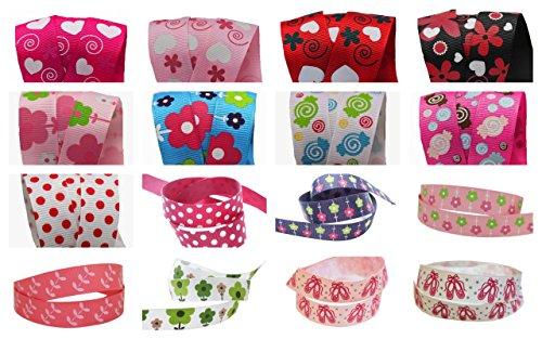Colorfoul Baby World Lot de 16 rubans Différents motifs/couleurs 12 rubans de 16 mm x 1 m et 4 rubans de 22 mm x 1 m