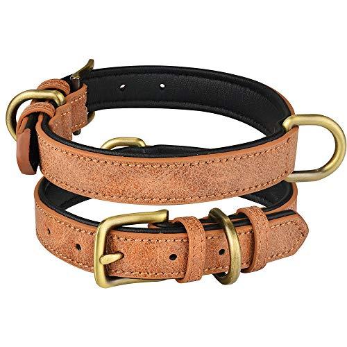 ZYYC Collar de Cuero para Perros, Ajustable, Doble Anillo en D, Control de Perros, pequeños, medianos, Grandes, marrón_XS 22-28CM