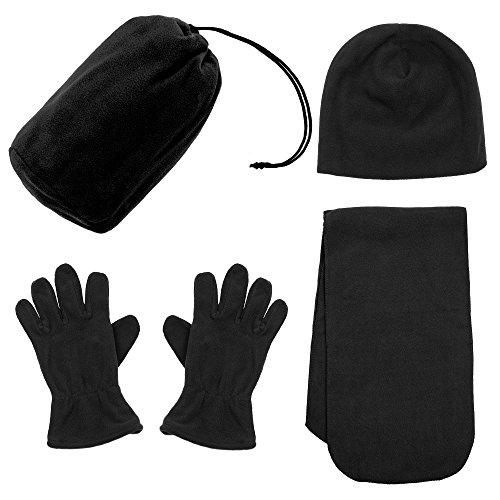 Simplicity Men / Women Winter Beanie, Hat, Gloves, & Scarf Set,34_ Black