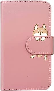 【moimoikka】 F-03K らくらくスマートフォン me 手帳型 スマホ ケース 柴犬 動物 キャラクター かわいい (ピンク) 犬 イヌ アニマル ダイアリータイプ 横開き カード収納 フリップ カバー スマートフォン モイモイッカ もいもいっか sslink