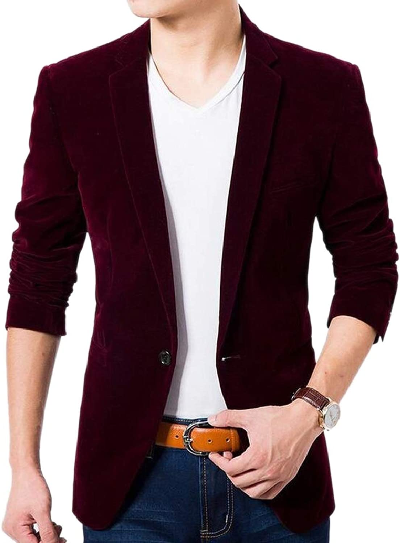 LKCEN-CA Men's Fall Winter Velvet Outerwear 1 Button Warm Blazer