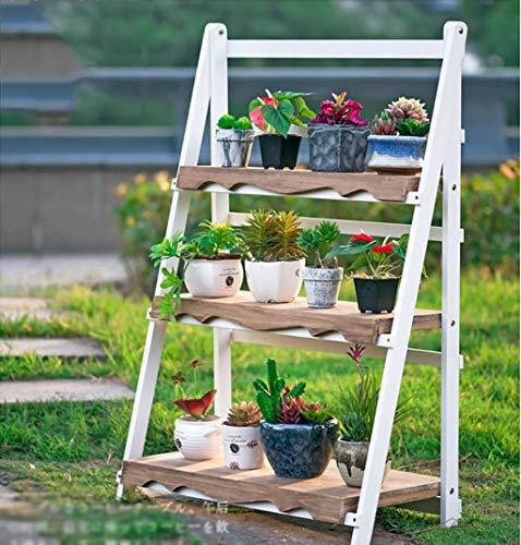 GWFVA Afwerkingspot voor bloempotten. Houten bloemenstand/Indoor \ u0026 Buiten plantenstand/Multi-layer bloembakken / 3F ladder trap/bloem vloer stand met kruiden stand (Kleur: A)