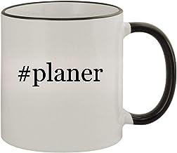 #planer - 11oz Ceramic Colored Rim & Handle Coffee Mug, Black