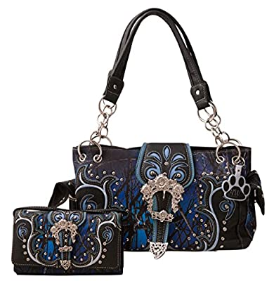 HW Collection Camo Camouflage Purse Floral Buckle Concealed Carry Handbag and Wallet Set