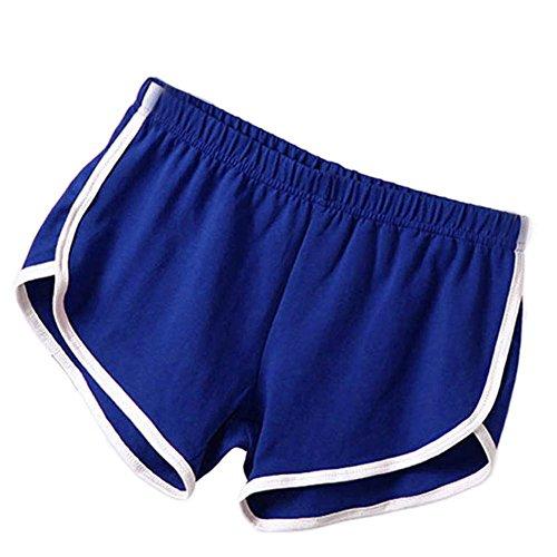 Soly Tech Women Summer Sports Shorts Gym Workout Waistband Skinny Shorts Pants Blue
