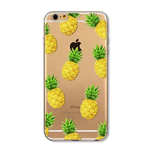 Anukku Custodia Cover Trasparente Ultra Slim Fina in Air Gel 0.3mm Design Ananas per Apple iPhone 5 - iPhone 5s - iPhone SE