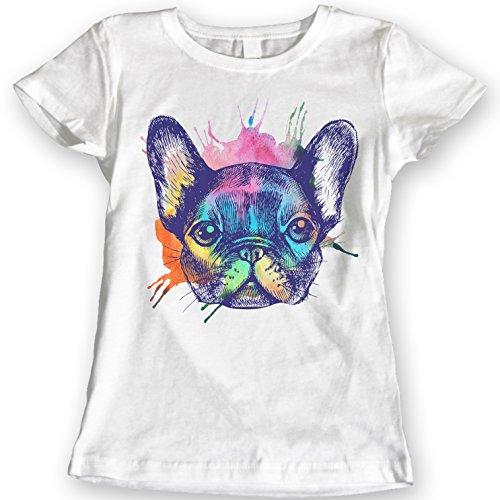 Francés Bulldog Camisetas Acuarela 100% Algodón (M, Blanco)