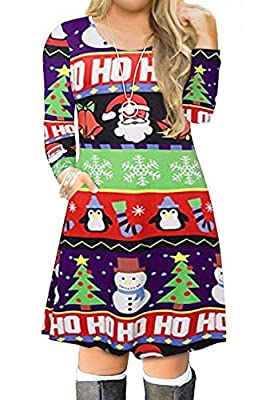 VISLILY Women's Plus Size Christmas Print Casual Swing T-Shirt Dress with Pockets