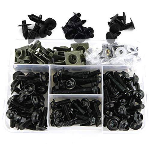CHENJUAN Vollverkleidung Bolt Kit Verbindungsklammern Karosserie Schrauben geeignet for Honda CBR600 F F2 F3 F4 F4i CBR 600RR 900RR 929RR 954RR RC51 Motorradschrauben (Color : Black)