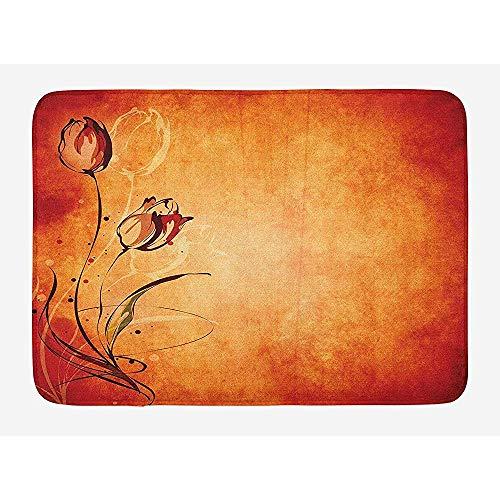 Ruan-Shop Antike Badematte, Vintager gealterter Hintergrund mit dem Schattenbild des orange Senf-Kastanienbrauns Rose Bloom Digital Image Doormats