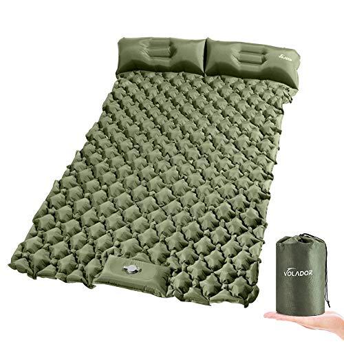 VOLADOR Colchoneta de dormir doble inflable con almohada, autoinflable impermeable para camping, colchón de aire ultraligero portátil para viajes, senderismo, mochila