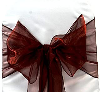SF New Pack of 25 Chair Decorative Organza Sashes Bow Designed for Wedding Events Banquet Home Kitchen Decoration (Burgundy)