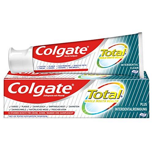 Colgate Zahnpasta Total Plus Interdentalreinigung, 1 x 75 ml - Zahncreme gegen Karies, Plaque. Reinigt die Zahnzwischenräume